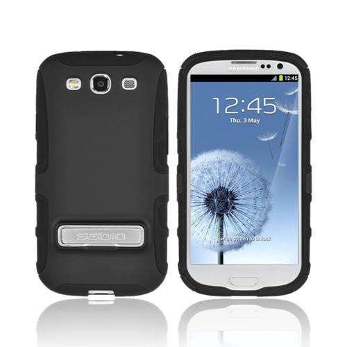 OEM Seidio Samsung Galaxy S3 Active Hard Cover Over Silicone w/ Metal Kickstand - Black