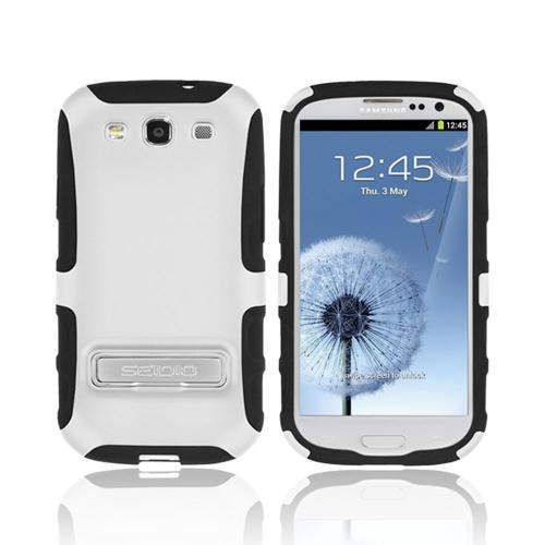 OEM Seidio Samsung Galaxy S3 Active Hard Cover Over Silicone w/ Metal Kickstand - White/ Black