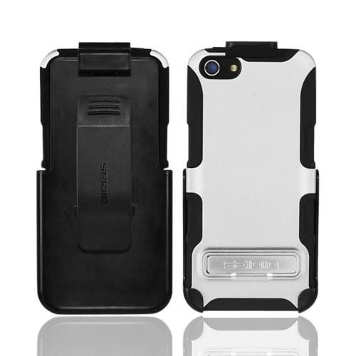 Apple iPhone SE / 5 / 5S  Case, Seido [White/ Black]  Rubberized Hard Cover Over Silicone w/ Kickstand & Holster Case