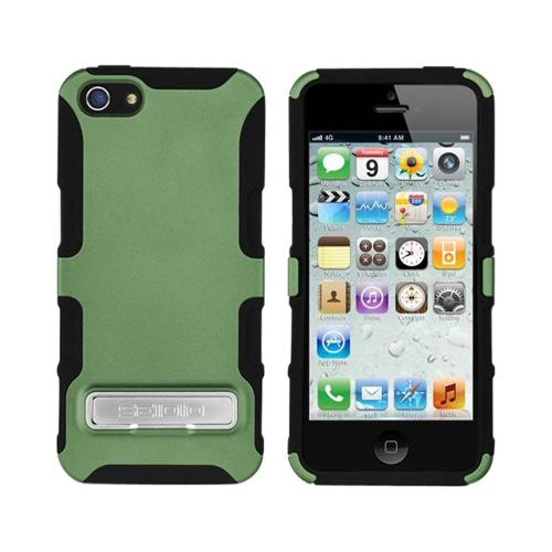 OEM Seidio Active Combo Apple iPhone 5/5S Rubberized Hard Cover Over Silicone w/ Kickstand & Holster - Sage Green/ Black