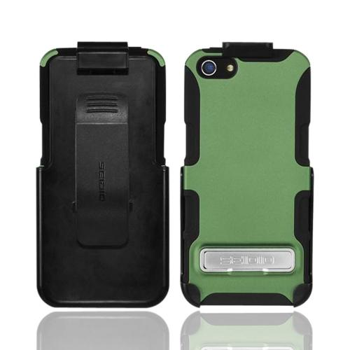 Apple iPhone SE / 5 / 5S  Case, Seido [Sage Green/ Black]  Rubberized Hard Cover Over Silicone w/ Kickstand & Holster Case