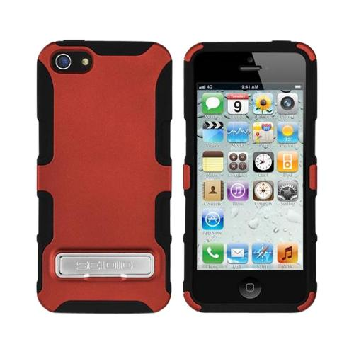 OEM Seidio Active Combo Apple iPhone 5/5S Rubberized Hard Cover Over Silicone w/ Kickstand & Holster - Garnet Red/ Black