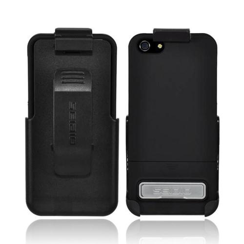 OEM Seidio Surface Combo Apple iPhone 5/5S UV Coated Hard Case w/ Kickstand & Holster - Glossy Black