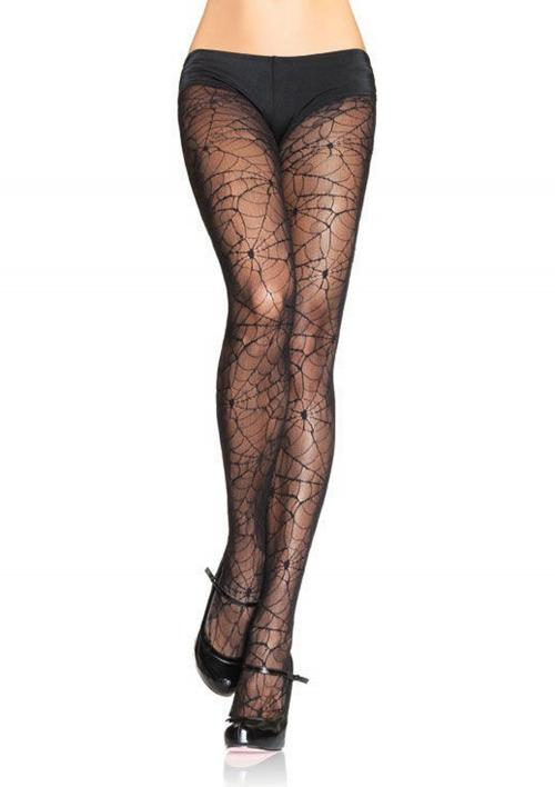 LegAvenue Halloween Costume Spandex Spiderweb Lace Pantyhose - Black,One Size 9009