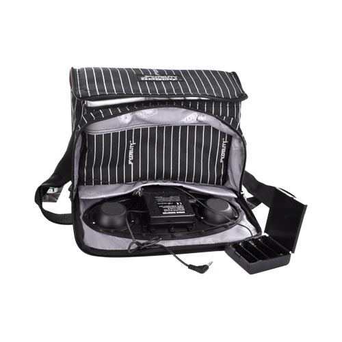 Original Fydelity & IMIXID Universal Chillout Cooler Bag w/ AM/FM Radio & Speakers (3.5mm), 91108 - White Pinstripes on Black