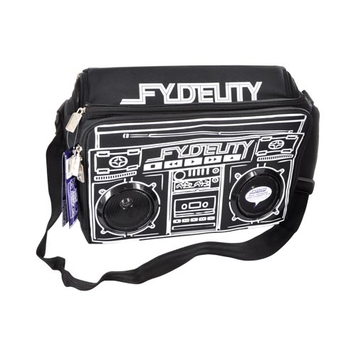 CRAZY COOL:Original Fydelity Universal Le Boom Box Coolio Cooler Bag w/ Built-In Amplifier & Speakers (3.5mm), 91251 - Black/ White