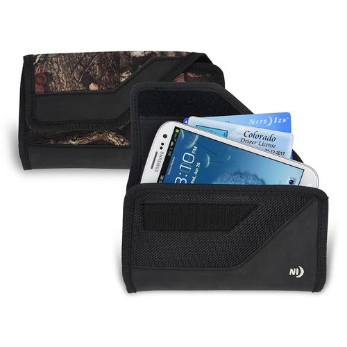 Nite Ize Horizontal Clip Cargo Nylon Holster Pouch Case [Mossy Oak] w/ Velcro Closure for XL Devices