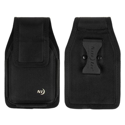 Nite Ize Vertical Clip Hardshell Nylon Holster Pouch Case [Black] w/ Velcro Closure for XL Devices