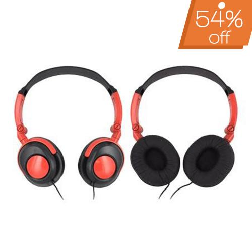 Original Xtreme Universal Foldable DJ Headphones w/ Ear Cushions (3.5mm), 99201 - Black/ Red