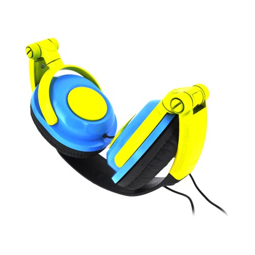 Original Xtreme Universal Foldable DJ Headphones w/ Ear Cushions (3.5mm), 99203 - Sky Blue/ Yellow