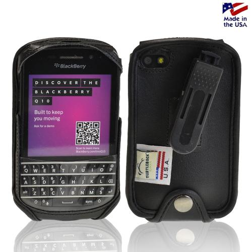 Black Turtleback Genuine Leather Pouch w/ Plastic Swivel Belt Clip for Blackberry Q10