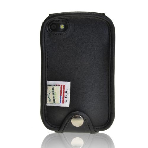 Black Turtleback Genuine Leather Pouch for Blackberry Q10