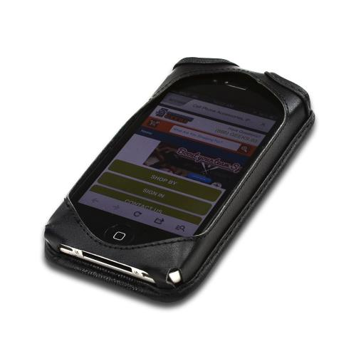 Black Turtleback Ranger Genuine Leather Case w/ Steel Swivel Belt Clip & Holster Combo for Apple iPhone 4/4S
