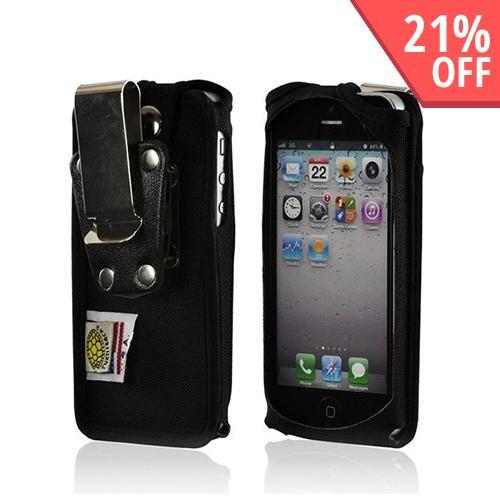 Black Turtleback Heavy Duty Ballistic Nylon Case w/ Steel Swivel Belt Clip for Apple iPhone 5/5S