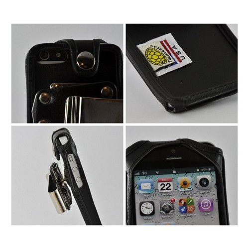 Black Turtleback Heavy Duty Premium Leather Case w/ Steel Swivel Belt Clip for Apple iPhone 5/5S