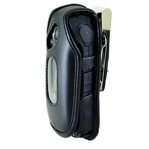 Kyocera DuraXE Fitted Pouch, Turtleback [Black] Real Leather Holster Pouch Case w/ Rotating Metal Belt Clip - Made in the USA!