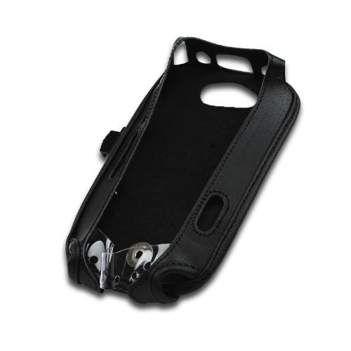 Black Turtleback Genuine Leather Pouch w/ Plastic Swivel Belt Clip for Kyocera Torque E6710