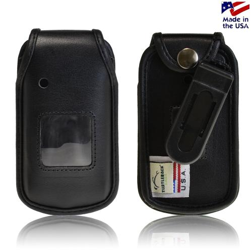 Black Turtleback Genuine Leather Pouch w/ Plastic Swivel Belt Clip for Kyocera Kona