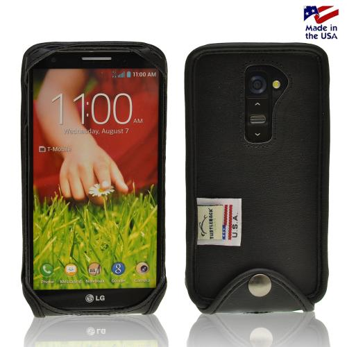 Black Turtleback Genuine Leather Pouch for LG G2