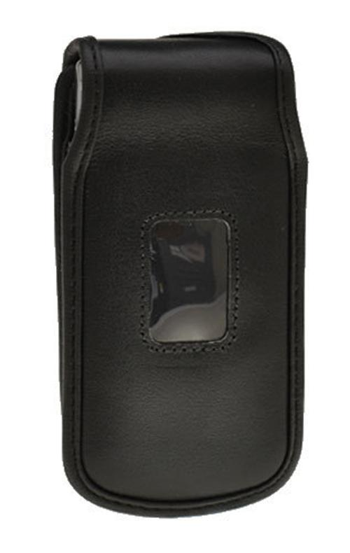 Black Turtleback Genuine Leather Pouch w/ Heavy Duty Steel Swivel Belt Clip for LG Wine III 3 UN530