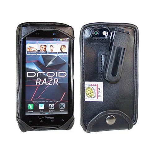 Original TurtleBack Premium Motorola Droid RAZR/ RAZR MAXX Leather Pouch w/ Swivel Belt Clip - Black
