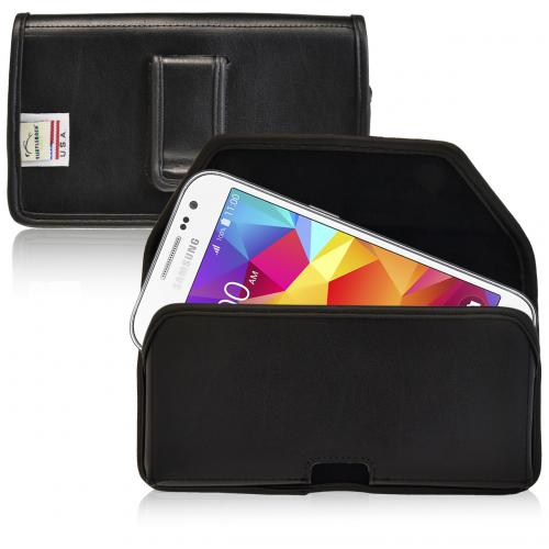 [Samsung Galaxy Core Prime] Pouch, Turtleback [Black] Horizontal Real Leather Holster Pouch Case w/ Black Leather Belt Clip - Made in the USA!