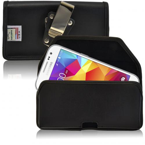 [Samsung Galaxy Core Prime] Pouch, Turtleback [Black] Horizontal Real Leather Holster Pouch Case w/ Rotating Metal Belt Clip - Made in the USA!