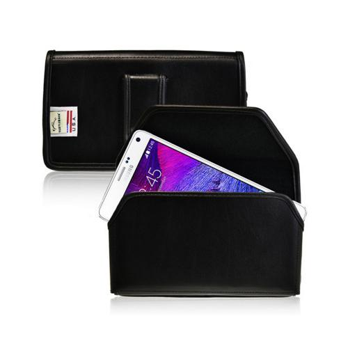 Black Turtleback Samsung Galaxy Note 4 2XL Holster Genuine Leather with Metal Clip with Metal Clip & Magnetic Closure