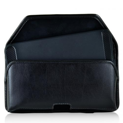 [Huawei Google Nexus 6P] Pouch, Turtleback [Black] Horizontal Real Leather Holster Pouch Case w/  Black Leather Belt Clip - Made in the USA!