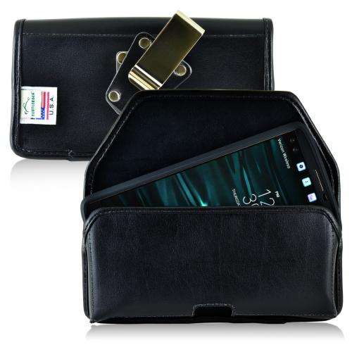 LG V10 Pouch, Turtleback [Black] Horizontal Real Leather Holster Pouch Case w/ Rotating Metal Belt Clip - Made in the USA!