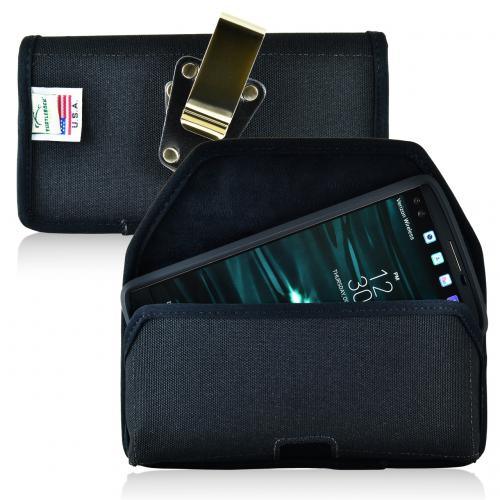 [LG V10] Pouch, Turtleback [Black] Horizontal Nylon Holster Pouch Case w/  Rotating Metal Belt Clip - Made in the USA!