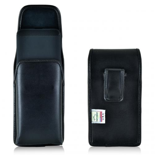 Huawei Google Nexus 6P Pouch, Turtleback [Black] Vertical Real Leather Holster Pouch Case w/  Black Leather Belt Clip - Made in the USA!