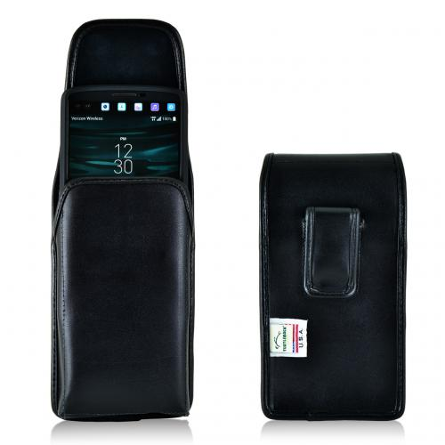 LG V10 Pouch, Turtleback [Black] Vertical Real Leather Holster Pouch Case w/  Black Leather Belt Clip - Made in the USA!