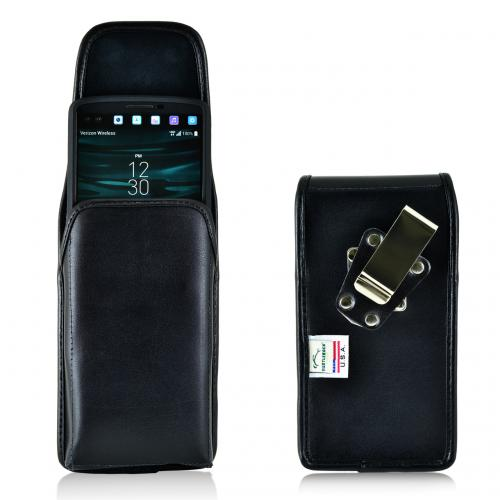 [LG V10] Pouch, Turtleback [Black] Vertical Real Leather Holster Pouch Case w/  Rotating Metal Belt Clip - Made in the USA!