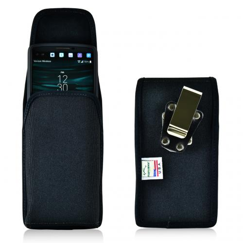 [LG V10] Pouch, Turtleback [Black] Vertical Nylon Holster Pouch Case w/  Rotating Metal Belt Clip - Made in the USA!