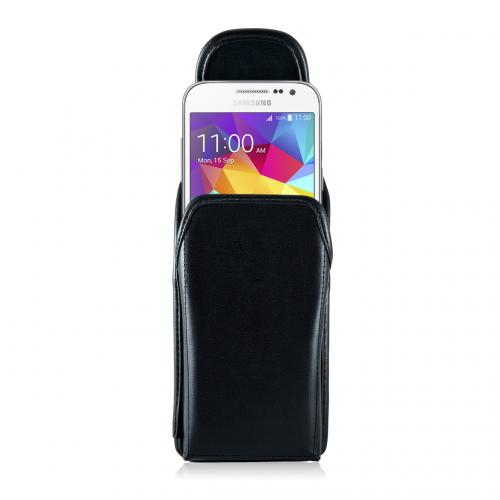 [Samsung Galaxy Core Prime] Pouch, Turtleback [Black] Vertical Real Leather Holster Pouch Case w/ Rotating Metal Belt Clip - Made in the USA!