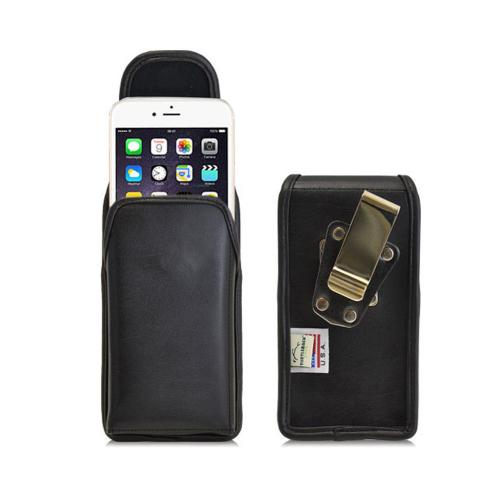 iPhone 6 Vertical Holster by Turtleback [Extra Large] [Black] Genuine Leather Holster With Heavy Duty Rotating Clip and Snap Close Magnet
