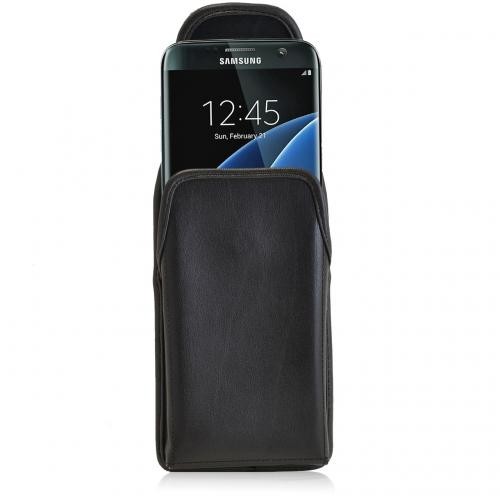 Samsung Galaxy S7 Edge Pouch, Turtleback [Black] Vertical Real Leather Holster Pouch Case w/ Black Leather Belt Clip - Made in the USA!