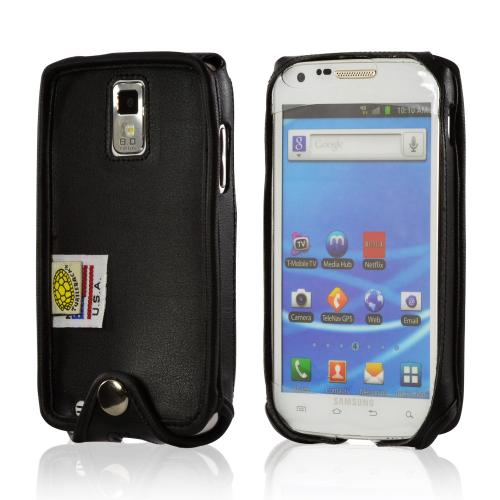 Black Turtleback Ranger Genuine Leather Case w/ Steel Swivel Belt Clip & Holster Combo for Samsung Epic 4G Touch