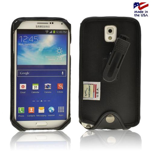 Black Turtleback Genuine Leather Pouch w/ Plastic Swivel Belt Clip for Samsung Galaxy Note 3