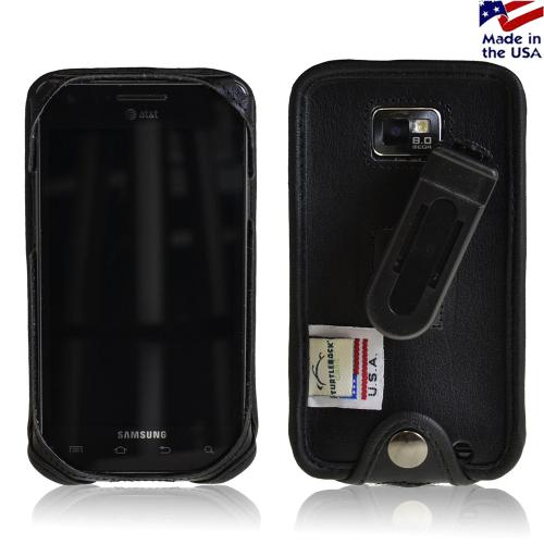 Black Turtleback Genuine Leather Pouch w/ Plastic Swivel Belt Clip for AT&T Samsung Galaxy S2