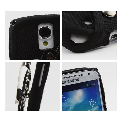 Black Turtleback Ballistic Nylon Pouch w/ Heavy Duty Steel Swivel Belt Clip for Samsung Galaxy S4