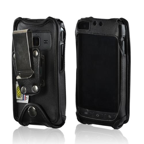 Turtleback Black Leather Pouch w/ Heavy Duty Steel Swivel Belt Clip for Samsung Rugby Pro