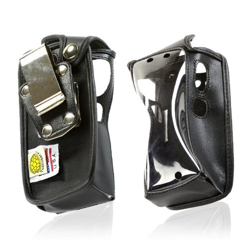 Sonim Turtleback Black Leather Pouch w/ Heavy Duty Steel Swivel Belt Clip for Sprint Sonim XP Strike Screen Protectors