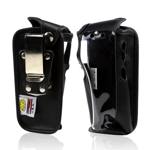 Black Turtleback Genuine Leather Pouch w/ Heavy Duty Steel Swivel Belt Clip for Sprint Sonim Strike XP3410