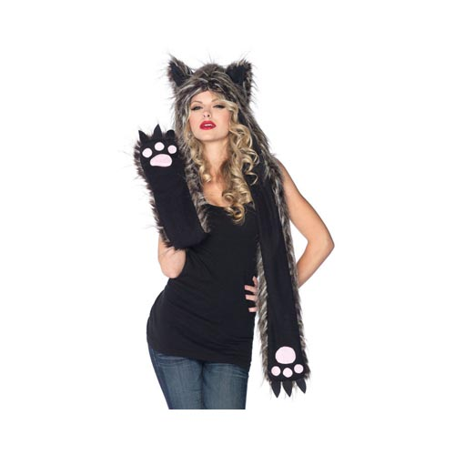 LegAvenue Halloween Costume Accessory Plush Wolf Hood w, Paw Scarf - One Size A1932