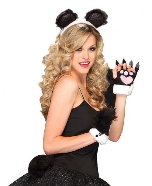 LegAvenue Halloween Costume Panda Kit, Ear Headband, Plush Tail, And Fingerless Heart Paws (3 PC)