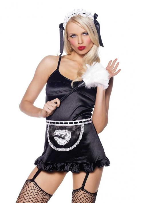 LegAvenue Halloween Costume French Maid Kit, Lace Trimmed Apron, Neck Piece, Wrist Cuffs, And Matching Headband (4 PC)