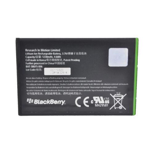 Original Blackberry Bold 9900, 9930 & Torch 9860, 9850 Standard Replacement Battery (1230 mAh), ACC-40871-301 - Black