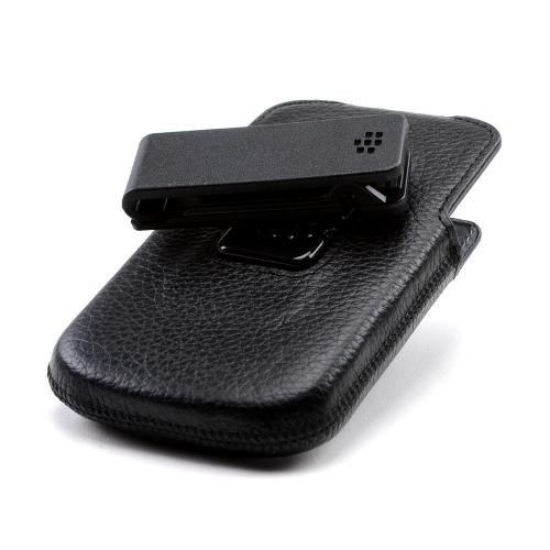 OEM Blackberry Black Leather Swivel Holster Case for Blackberry Q10 - ACC-50879-301